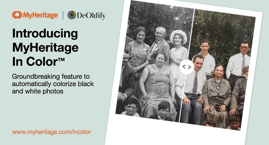 Colora automaticamente fotos em preto e branco com o MyHeritage In Color™